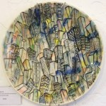 ceramic plate with painted cityscape